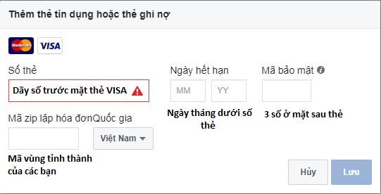 cách thêm thẻ visa vào Facebook thành công