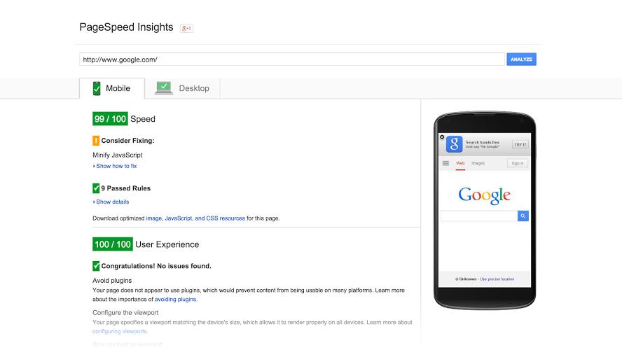 công cụ kiểm tra tốc độ website PageSpeed Tools Google